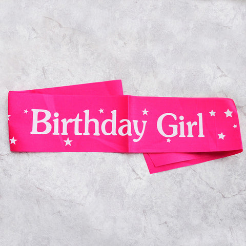 Image of birthday girl sash party decoration rose red white