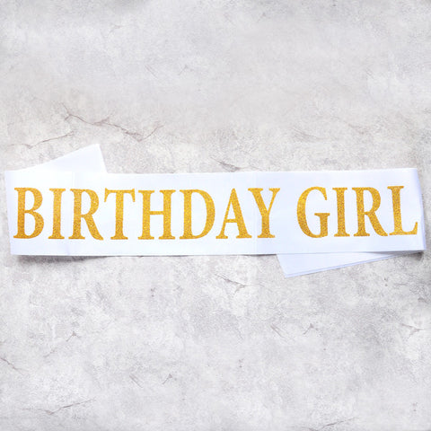 Image of birthday girl sash party decoration white gold