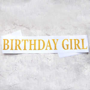 birthday girl sash party decoration white gold