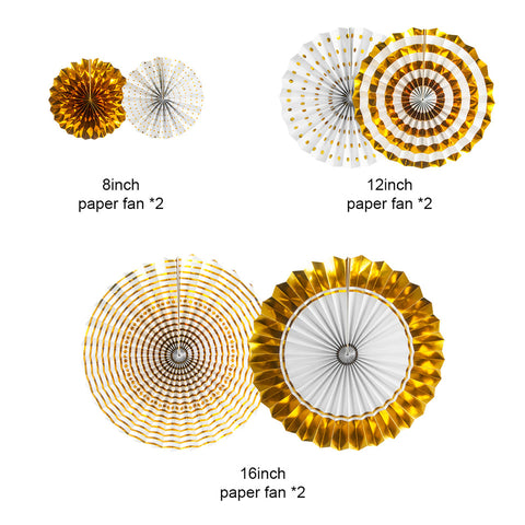 Image of Gold Birthday Party Decorations Fans size