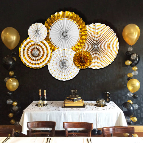 Image of Gold Birthday Party Decorations Fans
