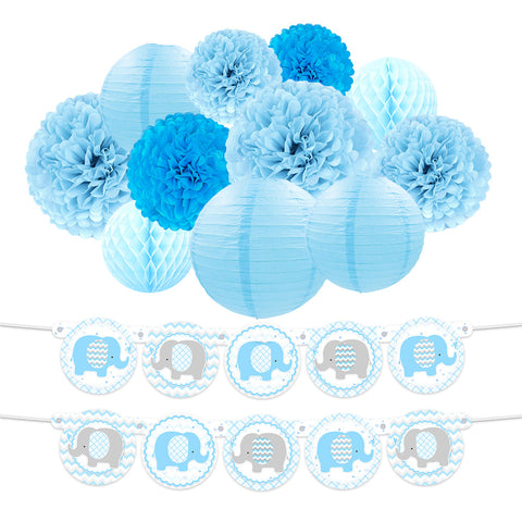 Image of Blue Elephant Boy  Baby Shower Kit