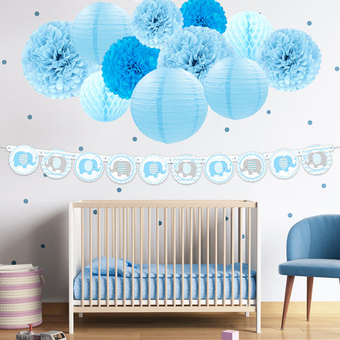 Blue Elephant Boy  Baby Shower Kit