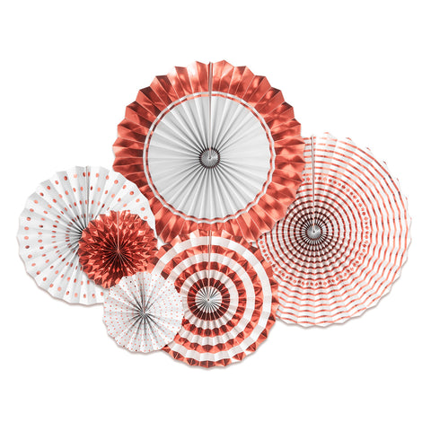 Rose Gold Paper Fans Set