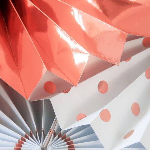 Image of Rose Gold Paper Fans details