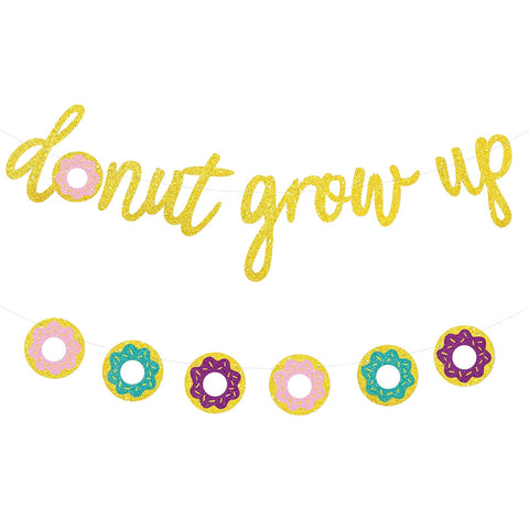 Image of Donut Grow Up Kids Birthday Decoration garland