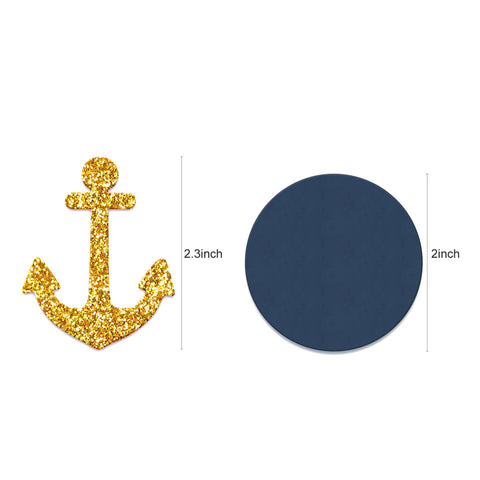 Image of navy party decorations confetti