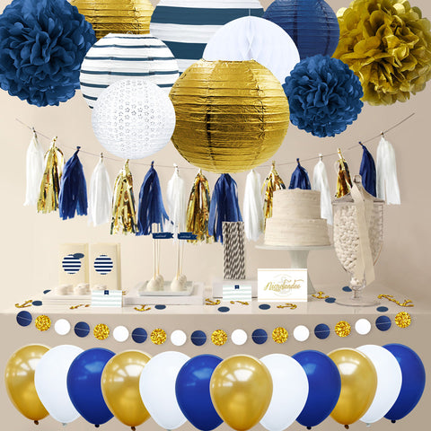 Image of navy party decorations