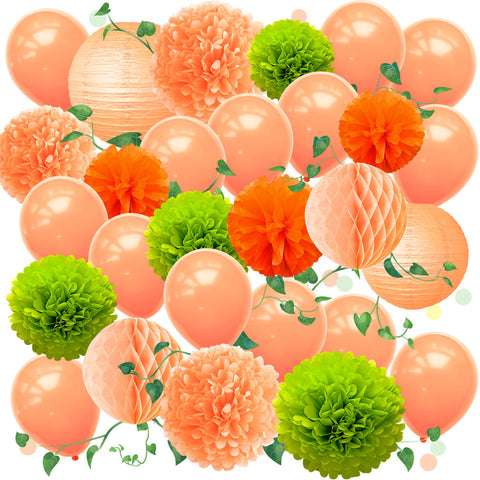 Image of Orange Green Party Decoration Kit flower balloons