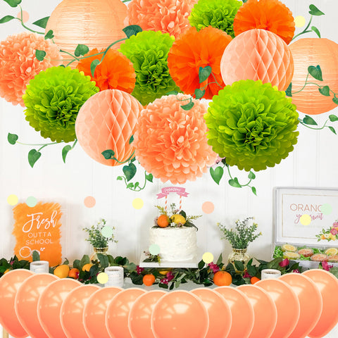 Image of Orange Green Party Decoration Kit