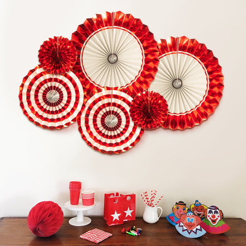 Image of Wine Red Paper Fans