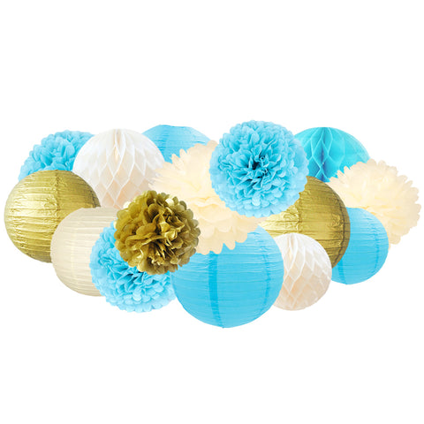 Image of Paper Flowers Lanterns Kit 15 pcs