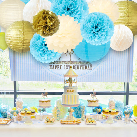 Image of Paper Flowers Lanterns Kit blue gold
