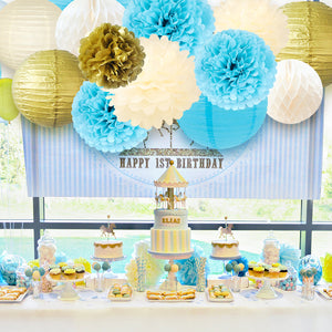 Paper Flowers Lanterns Kit blue gold