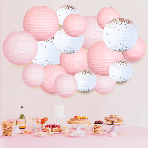 Pink Rose Gold Paper Lanterns Background
