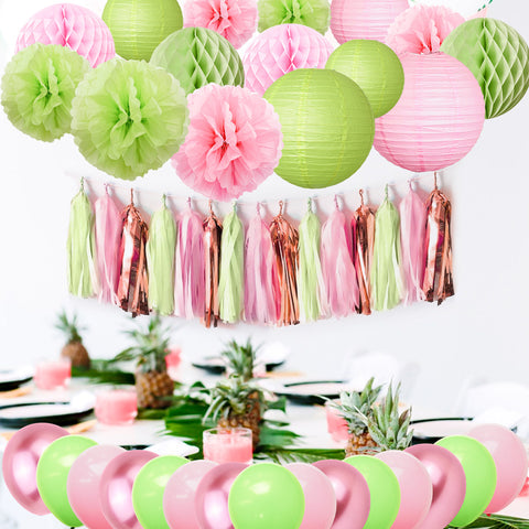Pink Green Party Decoration Kit