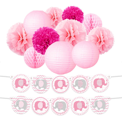 Pink Elephant Girl  Baby Shower Kit