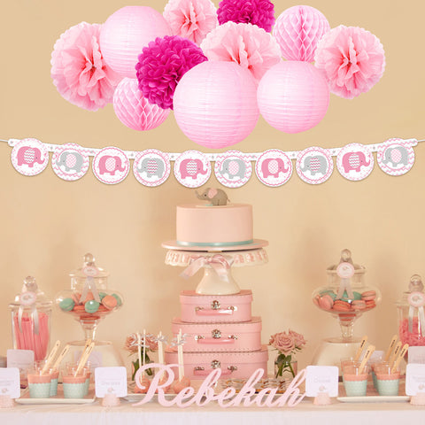 Image of Pink Elephant Girl  Baby Shower Kit
