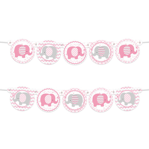 Pink Elephant Girl  Baby Shower banner