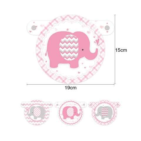 Image of Pink Elephant Girl  Baby Shower banner size