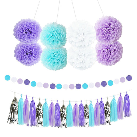 Purple Blue White Party Decor