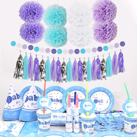 Image of Purple Blue White Party Decor