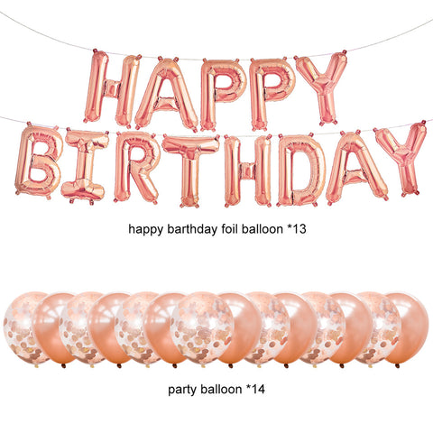 Image of rose gold party decorations balloons