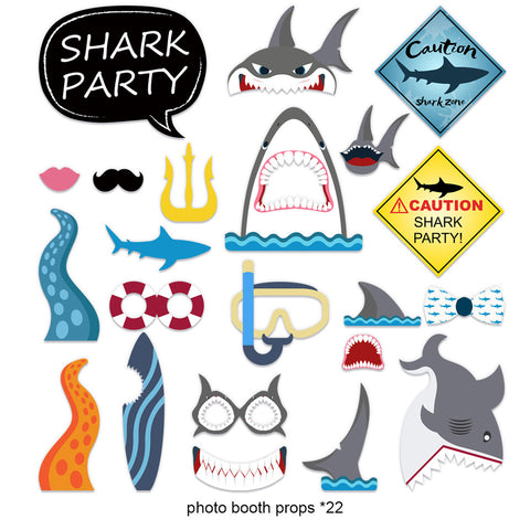Image of Shark Birthday Party Decoration Photo props