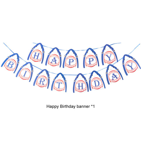 Image of Shark Birthday Party Decoration banner