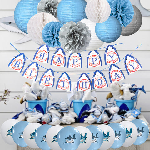 Image of Shark Birthday Party Decoration kit