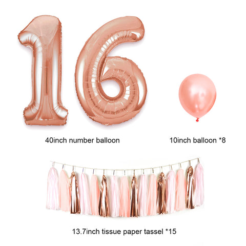 Image of Sweet 16 Decorations Balloon Tassel