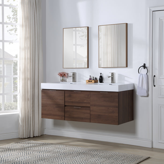 Stufurhome Valeria 59 inch Wall Mounted Double Sink Bathroom Vanity, No Mirror myhomeandbath