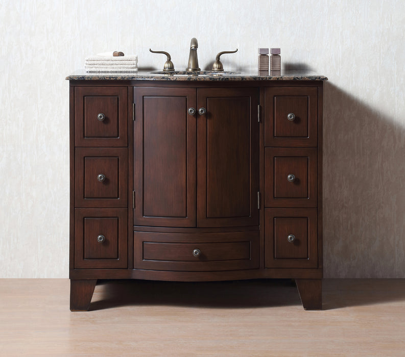 40 inch Grand Cheswick Single Sink Vanity with Baltic Brown Granite Top myhomeandbath