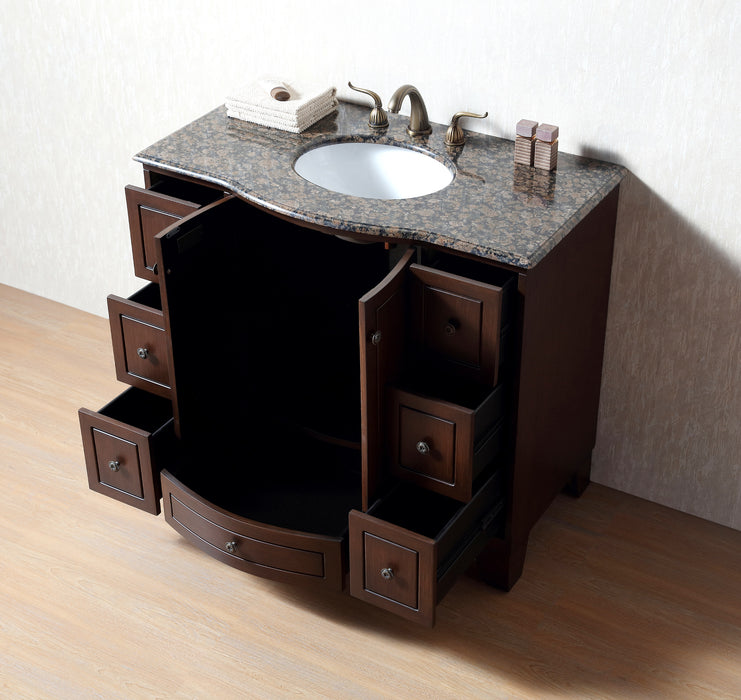 40 inch Grand Cheswick Single Sink Vanity with Baltic Brown Granite Top
