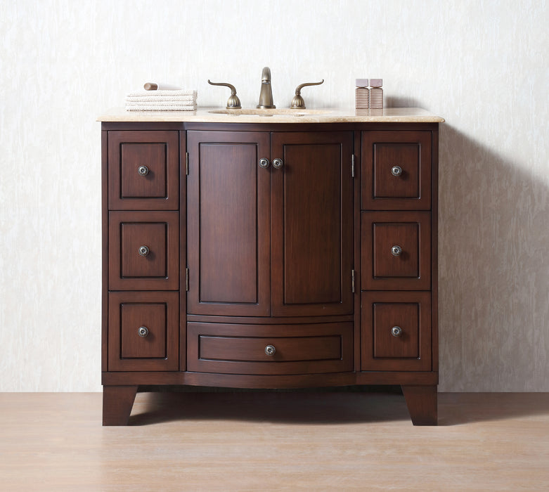 40 inch Grand Cheswick Single Sink Vanity with Travertine Marble Top myhomeandbath