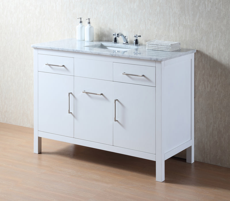 Atreus 48 inch White Single Sink Bathroom Vanity with Carrara Marble Top myhomeandbath