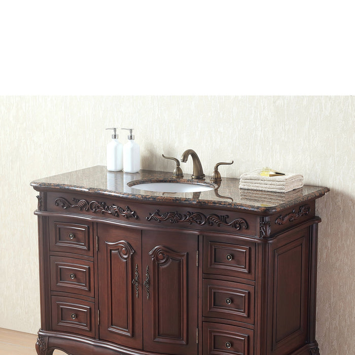 48 Inches Saturn Single Sink Vanity with Baltic Brown Granite Top myhomeandbath
