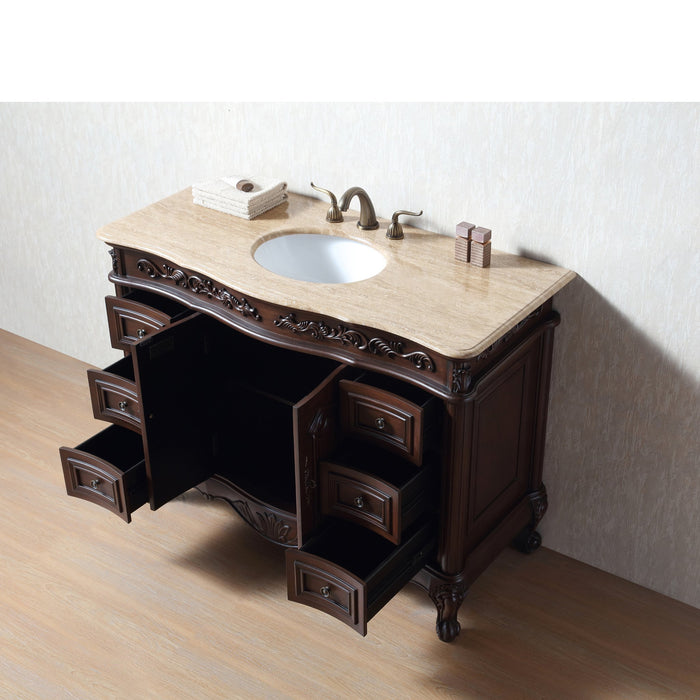 48 Inches Saturn Single Sink Vanity with Travertine Marble Top myhomeandbath