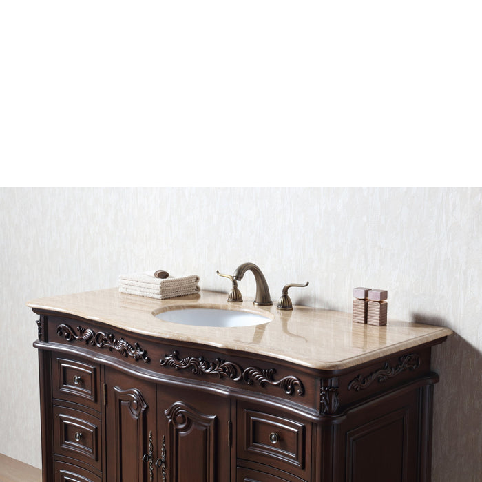 48 Inches Saturn Single Sink Vanity with Travertine Marble Top
