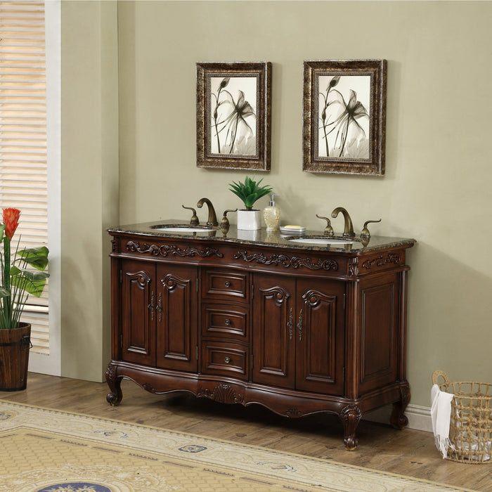60 inch Saturn Double Sink Vanity with Baltic Brown Granite Top myhomeandbath