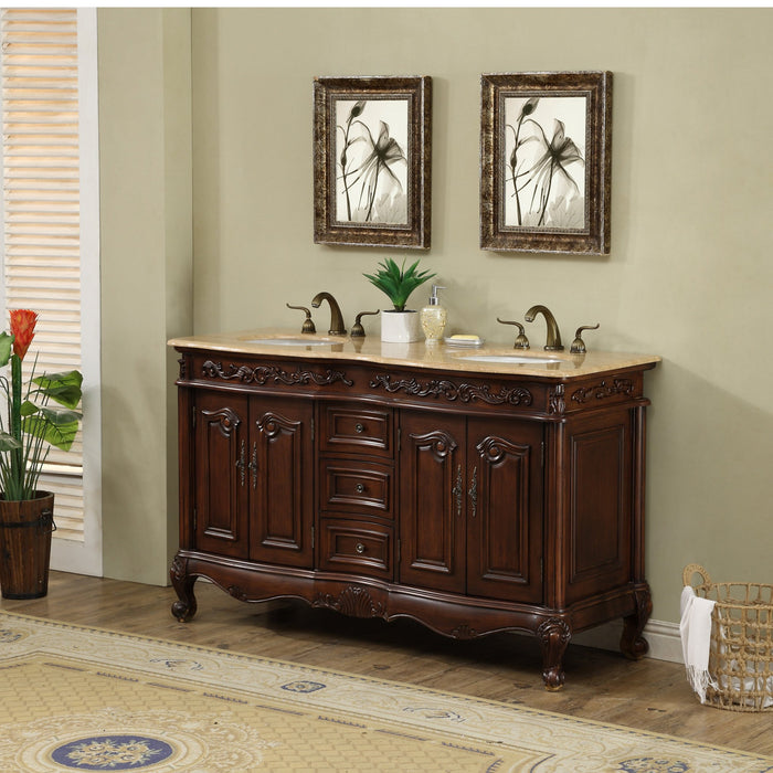 60 inch Saturn Double Sink Vanity with Travertine Marble Top