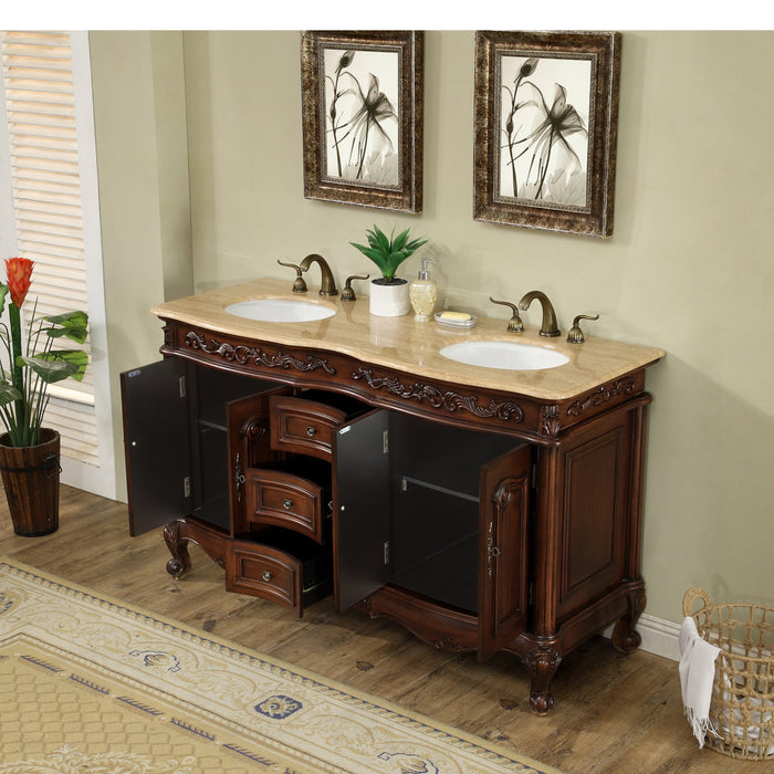 60 inch Saturn Double Sink Vanity with Travertine Marble Top myhomeandbath
