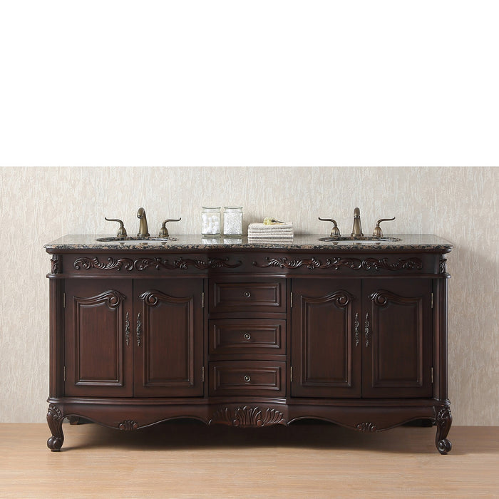 72 inch Saturn Double Sink Vanity with Baltic Brown Granite Top myhomeandbath
