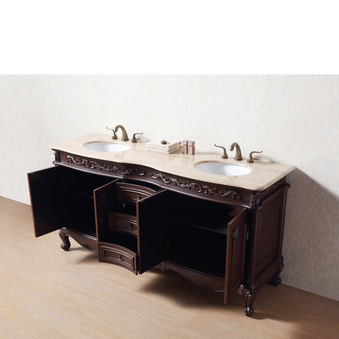 72 inch Saturn Double Sink Vanity with Travertine Marble Top myhomeandbath