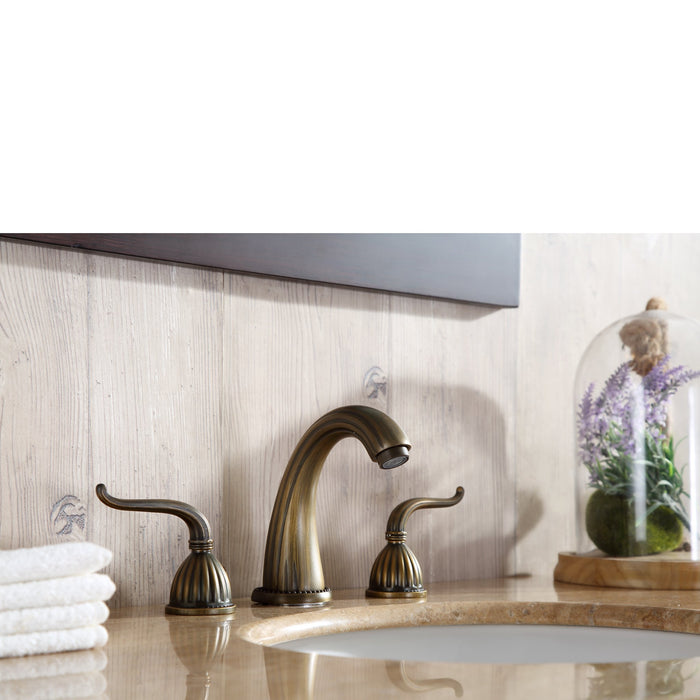 48 inch Lotus Single Sink Vanity with Travertine Marble Top and Mirror myhomeandbath
