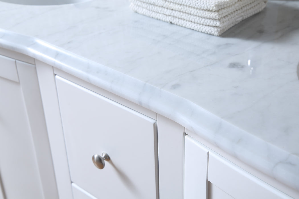 60 inch Locke White Double Sink Vanity with Carrara Marble Top myhomeandbath