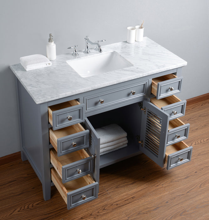 Genevieve 48 Inches Slate Gray Single Vanity Cabinet w/ Shutter Double Doors Single Bathroom Sink myhomeandbath