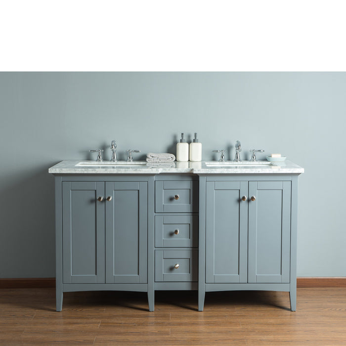 Tower Modern 60 Inches Grey Double Sink Bathroom Vanity