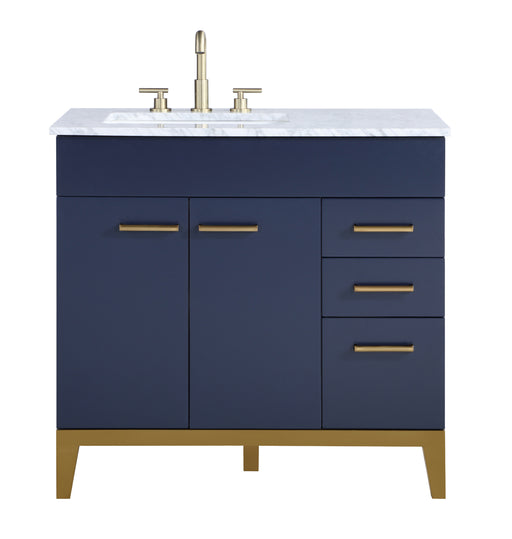 Stufurhome Alisson Dark Blue 36 inch Single Sink Bathroom Vanity myhomeandbath