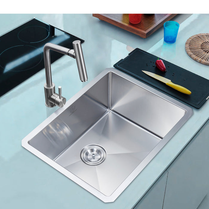 16-gauge Undermount Stainless Steel 23 in. Single Bowl Kitchen Sink myhomeandbath